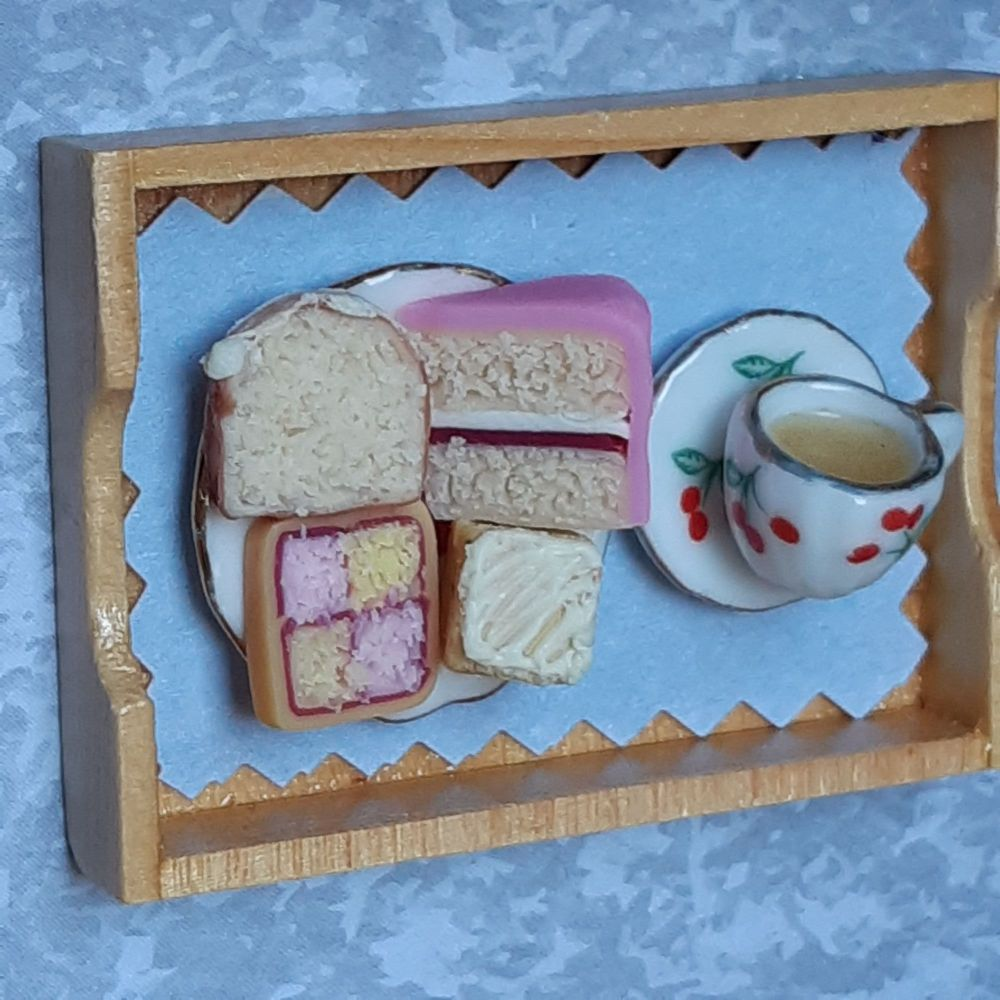 Tea tray with grey background