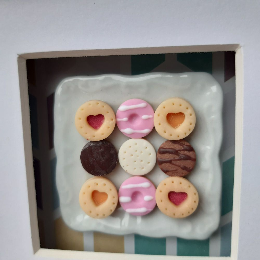 Square plate of biscuits (chevron background)