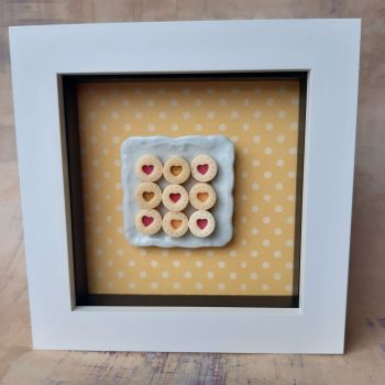 Square plate of biscuits (Yellow background)