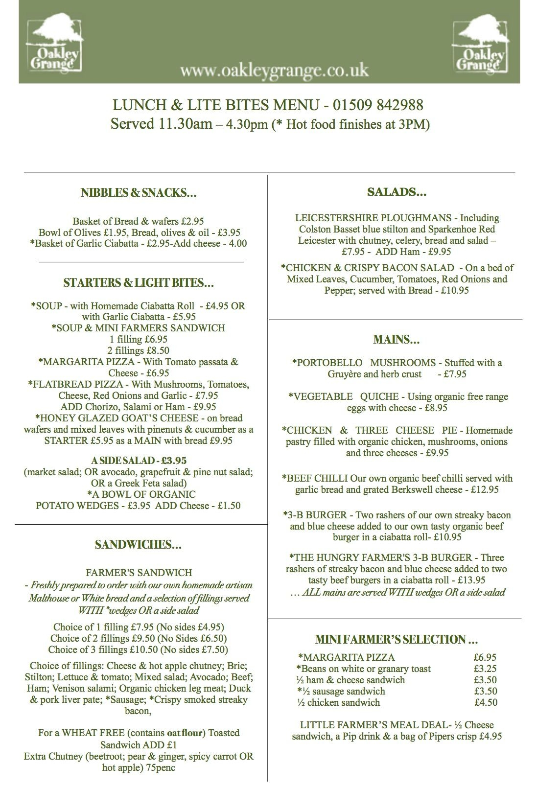 Sample Lunch & Lite Bites Menu