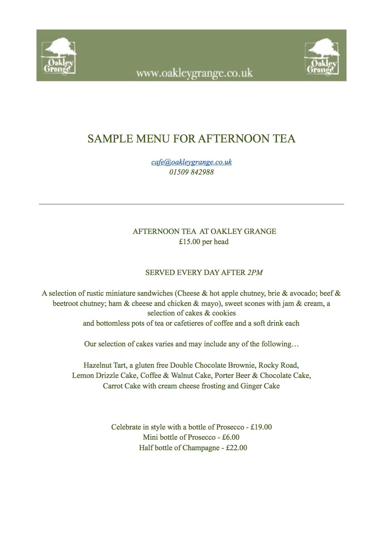 Sample Menu for Afternoon Tea at Oakley Grange