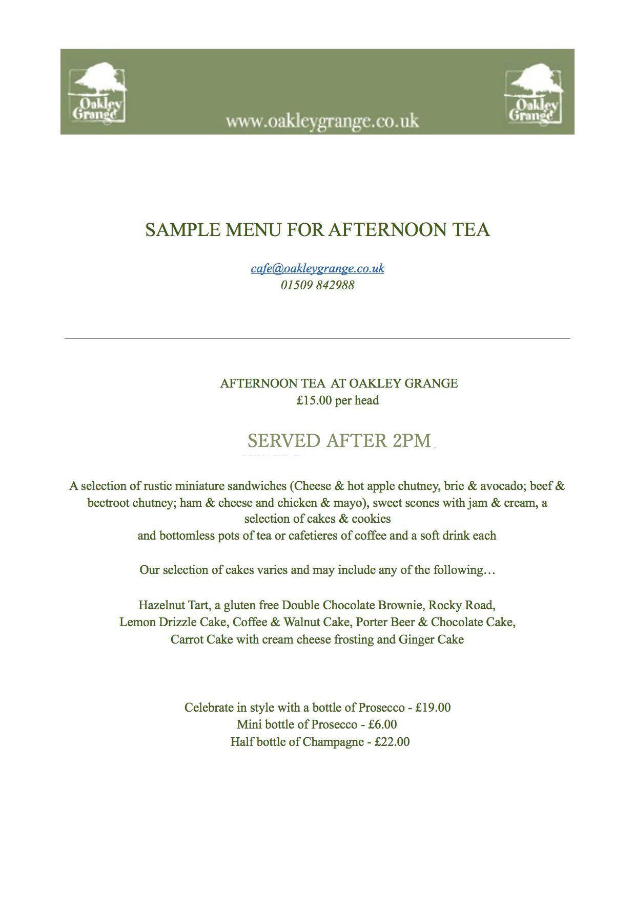 Sample Menu for Afternoon Tea at Oakley Grange