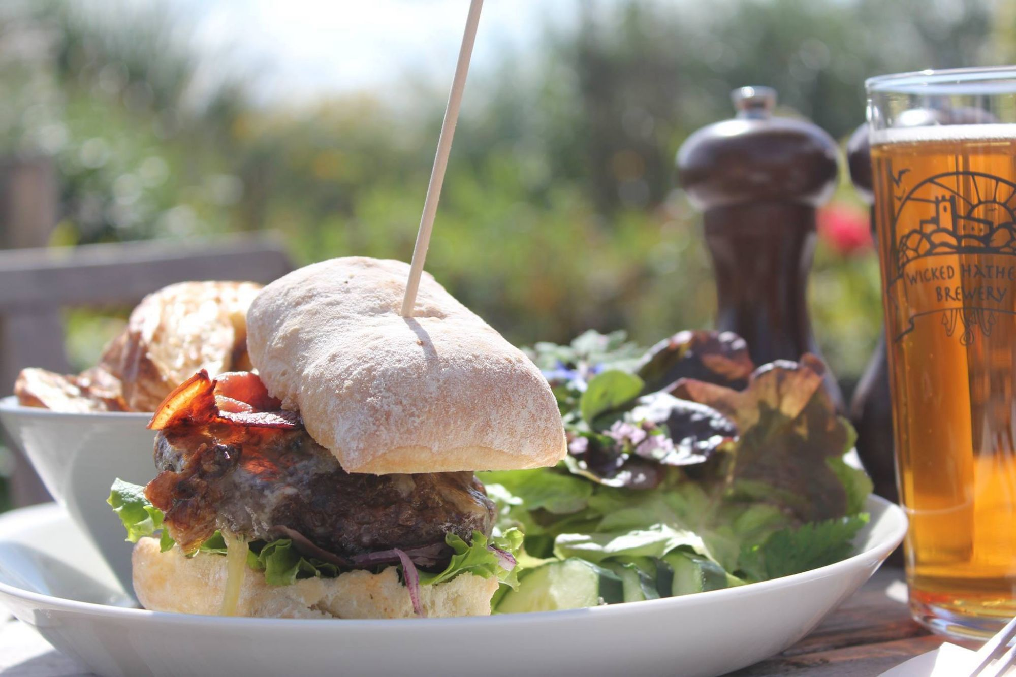 Burger in the cafe at Oakley Grange