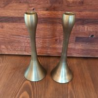 Candlesticks - Pair of Gold Candlesticks - height 20cm