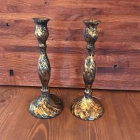 Candlesticks - Pair of Burnished Gold Candlesticks 26cm