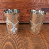 Pair of Tea Lights - Tall Silver Patterned Tea Light Holders