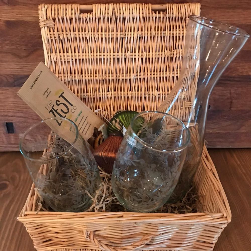 Hamper -  Two Intaglio Glasses & Matching Carafe