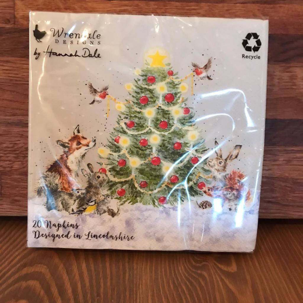 Napkins With Christmas Tree & Animals (Large)