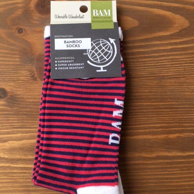 BAM Bamboo socks - Ladies size 4-7 Red stripes