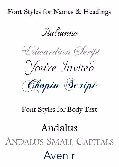 Font Styles for Stationery