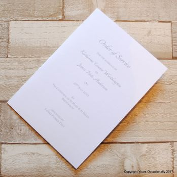 Plain Order of Service Booklet