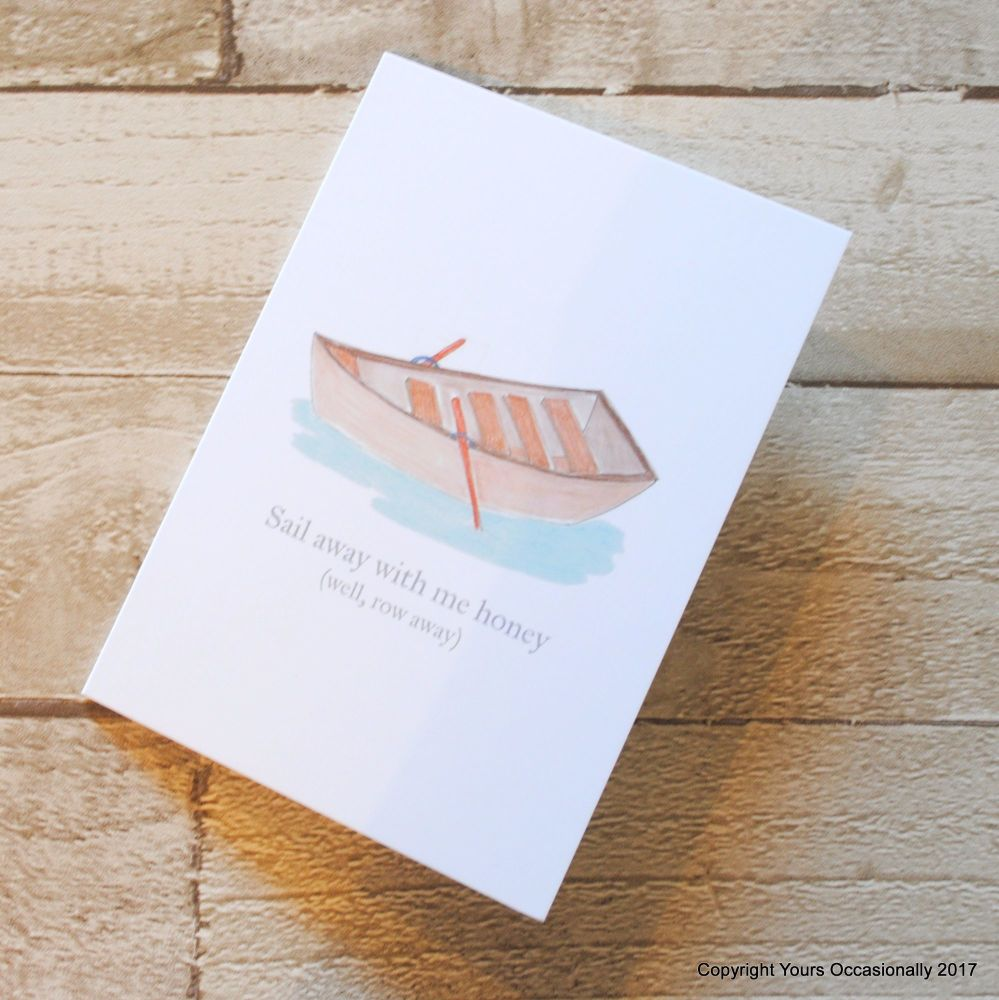 Hand Illustrated Rowing Boat Greeting Card