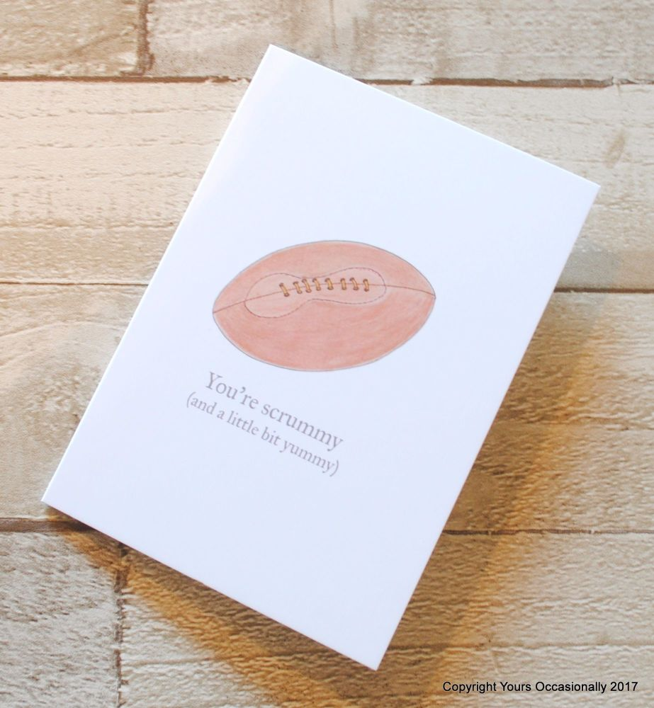 Hand Illustrated Rugby Ball Greeting Card