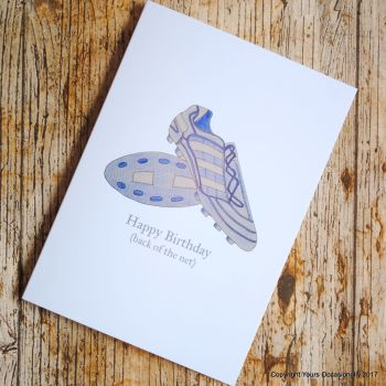 Hand Illustrated Football Boots Birthday Card - blue