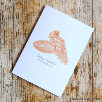 Hand Illustrated Football Boots Birthday Card - Red