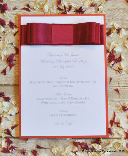 Dior Bow Menu Card