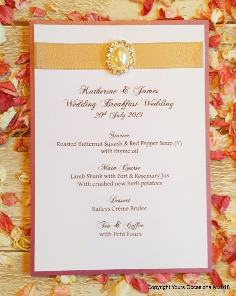 Pearl Passion Menu Card