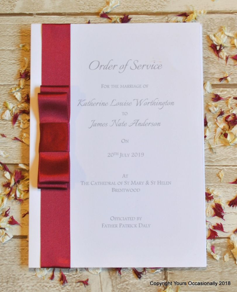 Dior Bow Order of Service Booklet