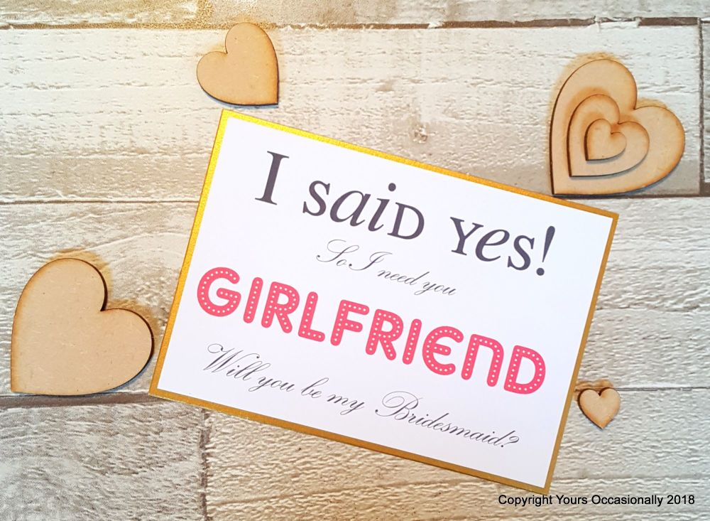 Girlfriend Will You be my Bridesmaid Postcard