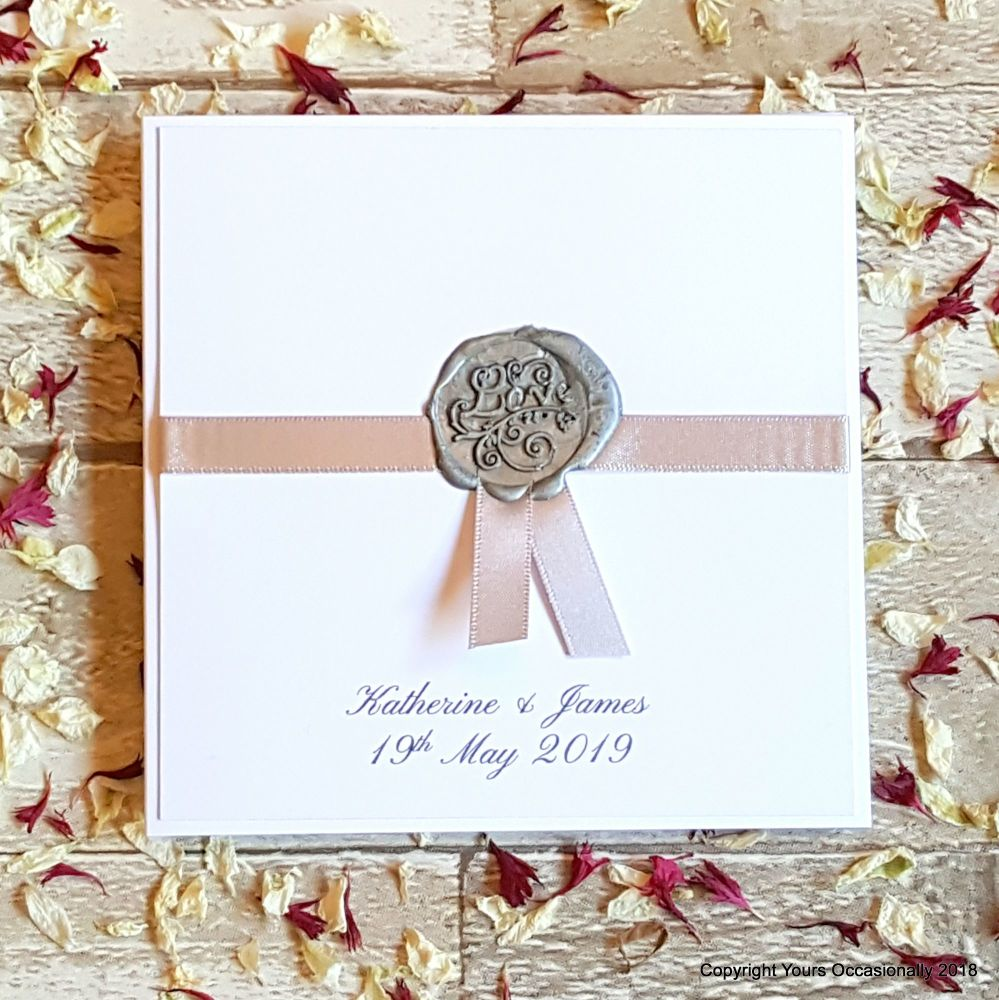 Seal of Love Bookfold Invitation - Silver