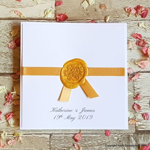 Seal of Love Bookfold Invitation - Gold