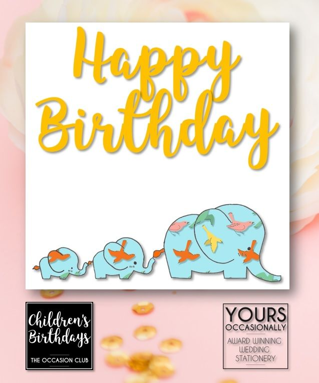 Patterned Elephant Print Childrens Birthday Cards