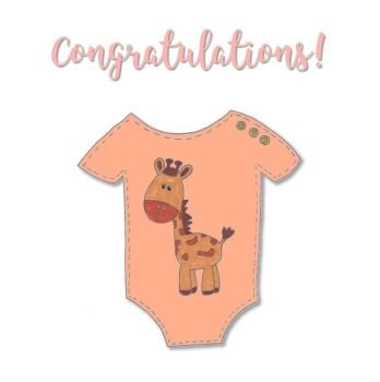 New Baby Cards - Giraffe Baby Grow - Congratulations
