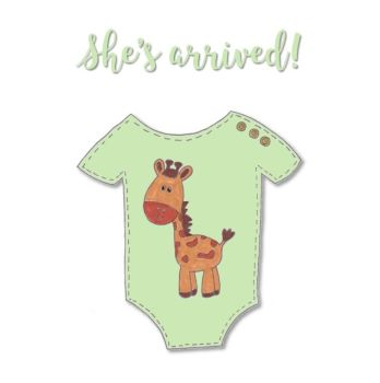 New Baby Cards - Giraffe Baby Grow - She's Arrived
