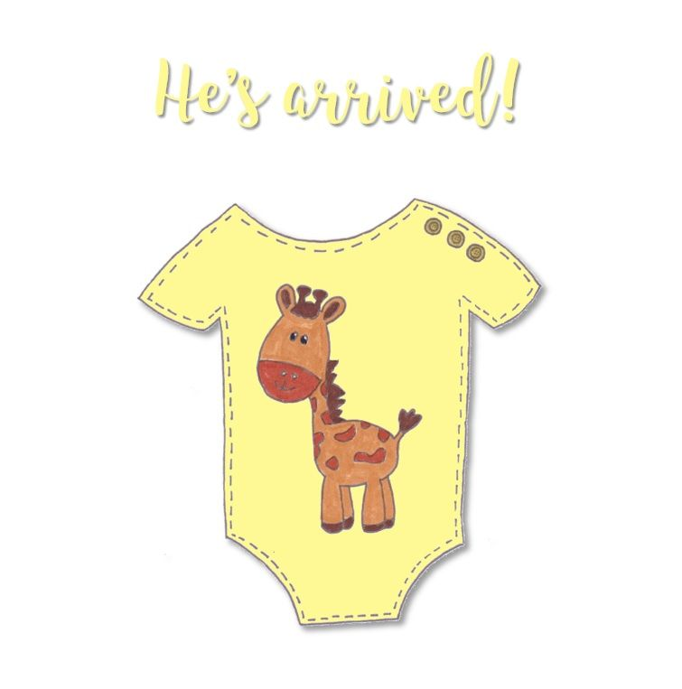 New Baby Cards - Giraffe Baby Grow - He's Arrived
