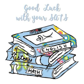 Good Luck With Your SATS Greeting Cards - Book Worm Collection