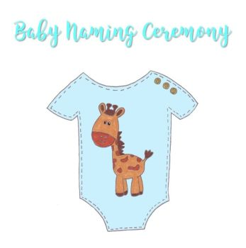 Baby Naming Ceremony Card with Giraffe image on Baby Grow