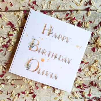 Personalised Leaf Fonts Birthday Card