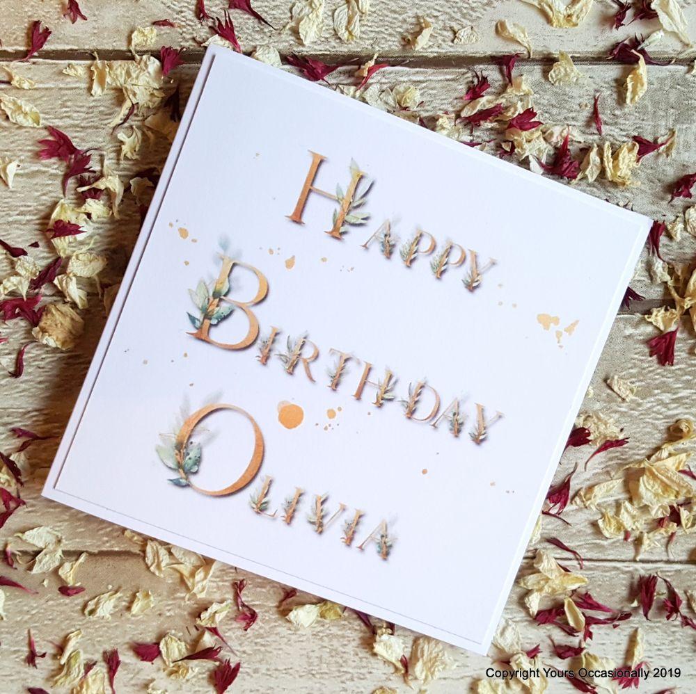 6. Leaf Love Personalised Birthday Cards