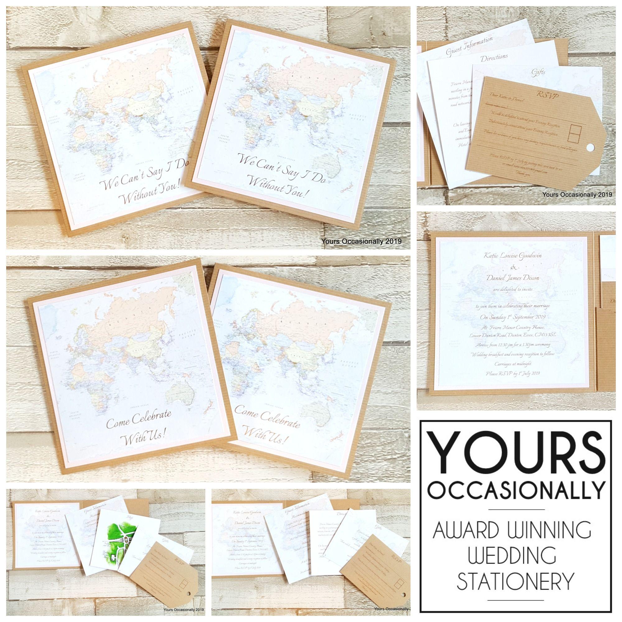 World Map Invitation Collage