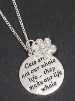 Equilibrium Silver Plated - Cats Are Not Our Whole Life, But They Make Our Life Whole- Necklace - Gift Boxed