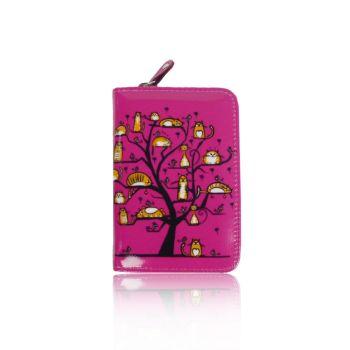 Cats In A Tree Purse - Small - Fuscia Pink