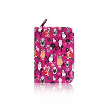Cats All Over Purse - Small - Fuscia Pink