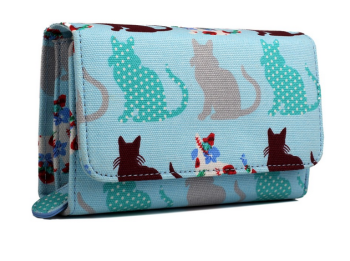 Patchwork Cats - Fold Over Purse - Blue