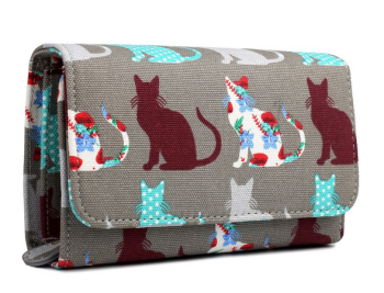 Patchwork Cats - Fold Over Purse - Grey