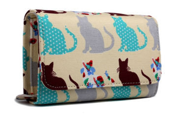 Patchwork Cats - Fold Over Purse - Beige