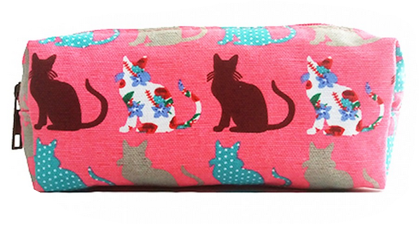 Patchwork Cats - Pencil case - Pink