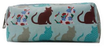Patchwork Cats - Pencil case - Blue