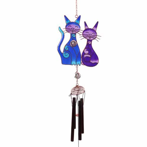 2 Blue Cats Windchime