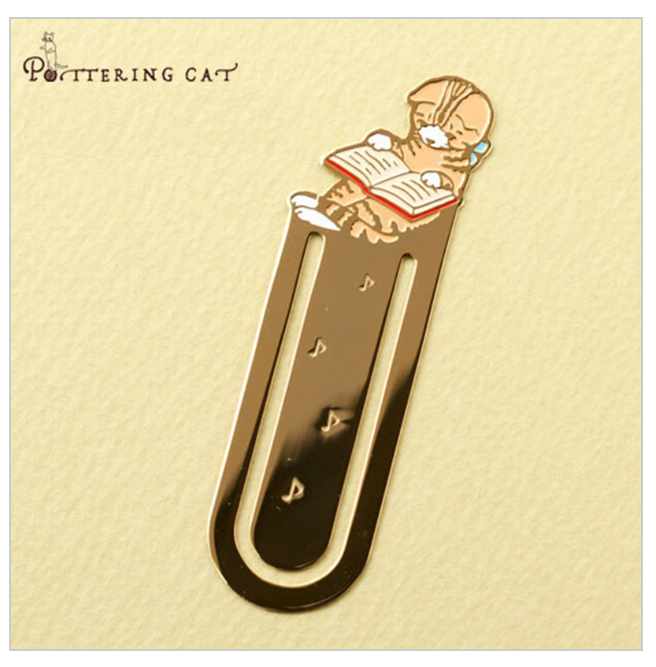 Pottering Cat - Metal Bookmark - Ginger Cat