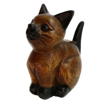 Hand Carved - Wooden Sittng Tail Up Cat