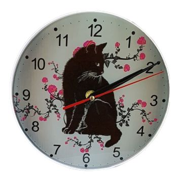 Black Cat Wall Clock - Grey & Pink Rose Cat Clock - Glass - Bespoke Design