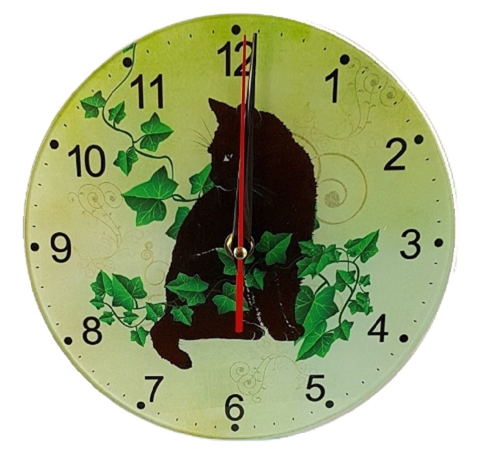 Black Cat Wall Clock - Ivy & Black Cat Clock - Glass - Bespoke Design