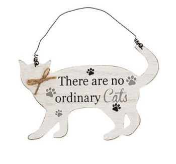 Wooden Cat Shaped Sign/Plaque - Purrfect Pals - There Are No Ordinary Cats - 275240B