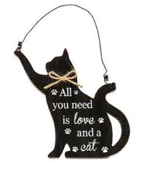 Wooden Cat Shaped Sign/Plaque - Purrfect Pals - All You Need Is Love & A Cat - 275240C