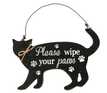 Wooden Cat Shaped Sign/Plaque - Purrfect Pals - Please Wipe Your Paws - 275240D
